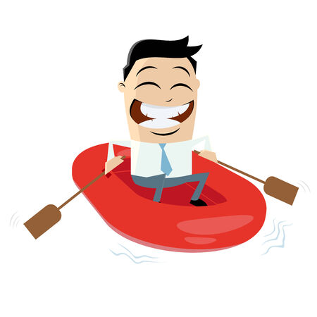 amused: funny businessman with rubber boat