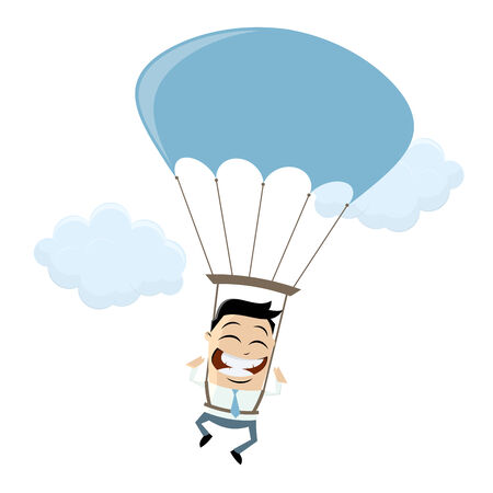 amuse: funny businessman with parachute