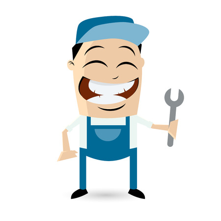 funny cartoon technician Vector