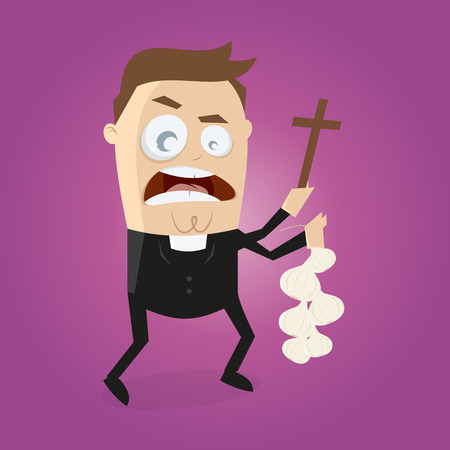 exorcism: funny cartoon priest is doing exorcism