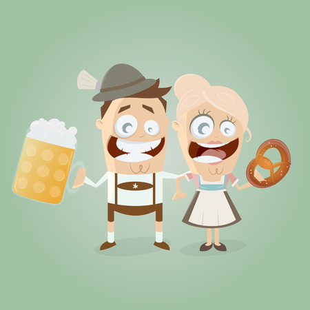 bavarian couple with beer and pretzel Çizim