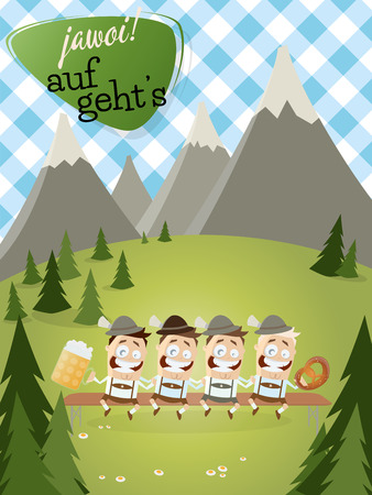 lederhosen: bavarian background with traditional people with beer Illustration