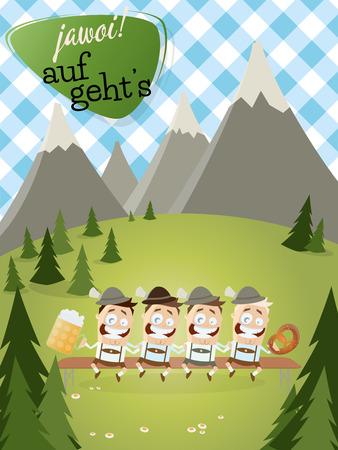 jarra de cerveza: fondo de Baviera con la gente tradicional con cerveza