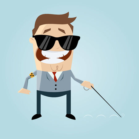 visually: blind cartoon man Illustration