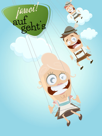 lederhosen: bavarian people in swing ride on the sky