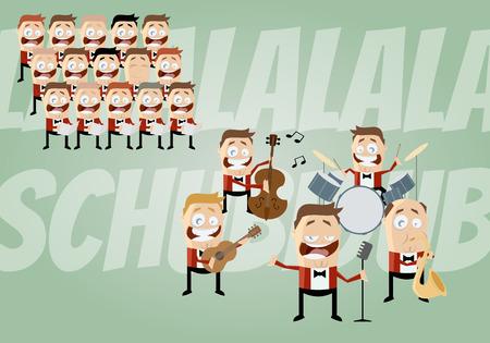 funny cartoon music band and choir