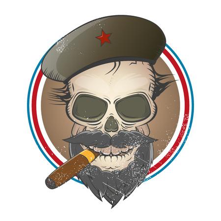vintage cigar: revolution skull sign Illustration