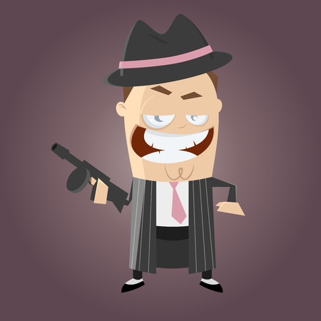 cartoon gangster: Funny cartoon gangster Illustration