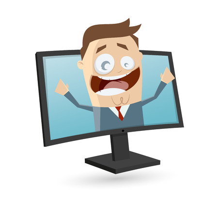 businessman is looking out of the screen Illustration