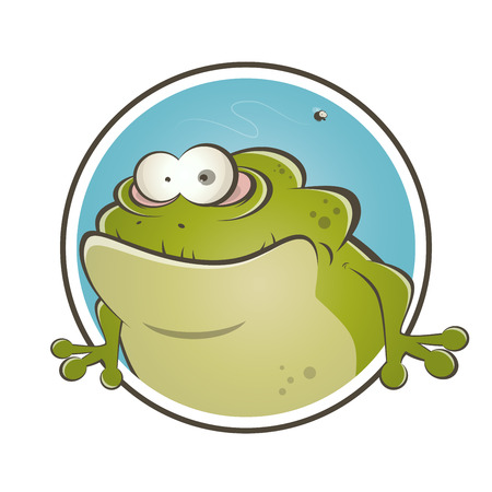 funny cartoon frog Vector