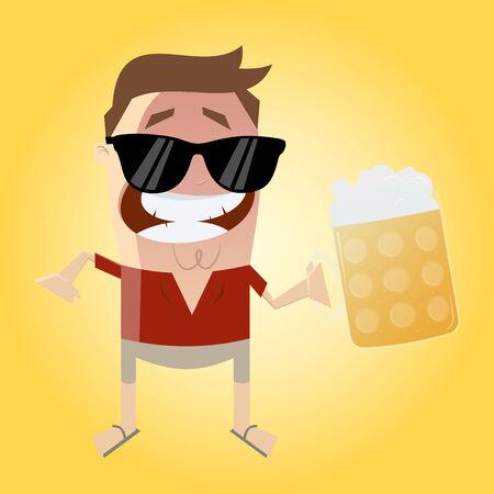relajado: relajado hombre con la cerveza Vectores