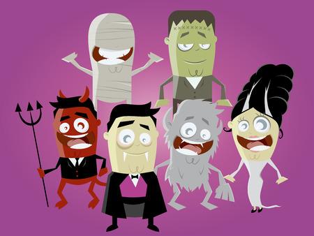cartoon frankenstein: funny halloween characters Illustration
