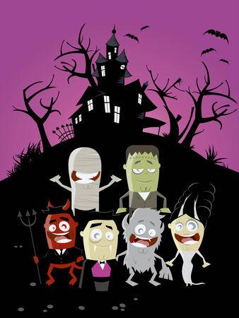 cartoon frankenstein: funny halloween background Illustration