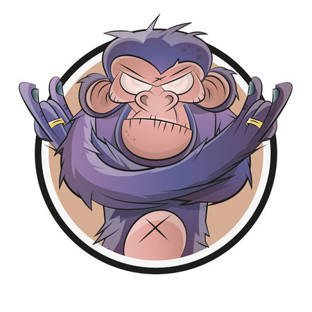 Boos cartoon chimpansee in een badge Stockfoto - 32043750