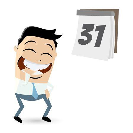 glad: funny cartoon businessman with calendar