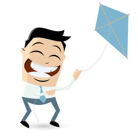 funny cartoon businessman is flying a kite Vector