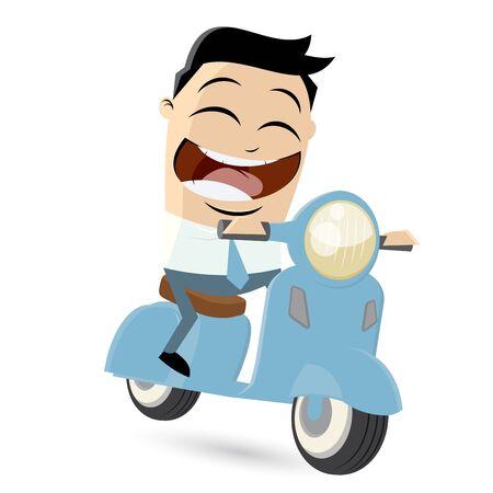scooter: hombre de negocios divertido de la historieta est� montando un scooter