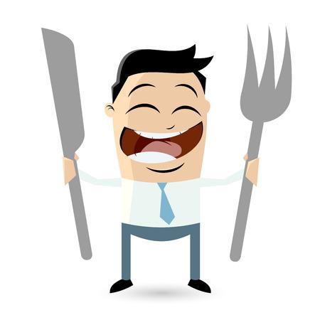 幸せな男は食べ物を待っています。