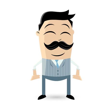 retro cartoon man with mustache Vector