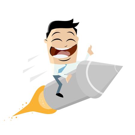 funny cartoon riding on a rocket Vector