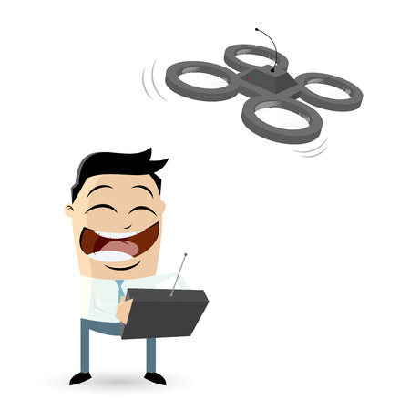 funny businessman playing with drone