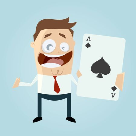 ace: funny cartoon man with big ace