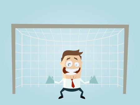 arquero de futbol: divertido empresario es un portero