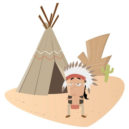 indian chief: funny indian chief Illustration