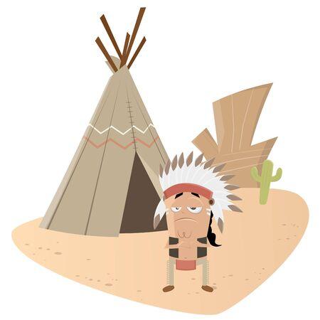 tipi: funny indian chief Illustration