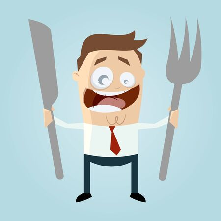 mealtime: happy man is waiting for food Illustration