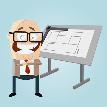 arquitecto caricatura: arquitecto feliz de dibujos animados
