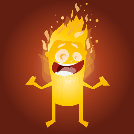 burning: funny burning man character Illustration