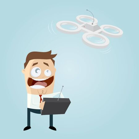 remote control: funny businessman is playing with a drone Illustration