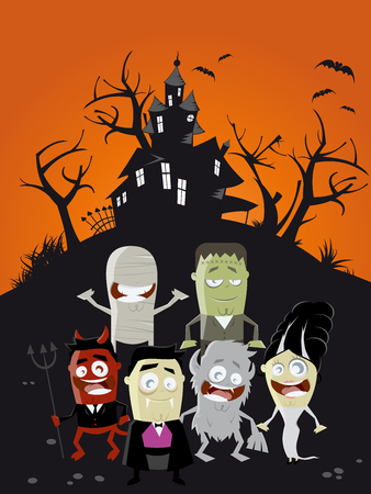 cute house: funny halloween cartoon background Illustration