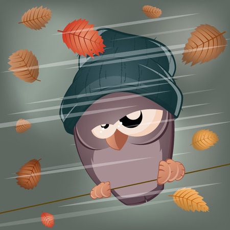 sullen: funny cartoon bird in stormy weather
