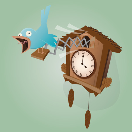 funny cuckoo clock illustration Stock Illustratie
