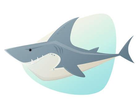 squalo bianco: grande squalo bianco illustrazione Vettoriali