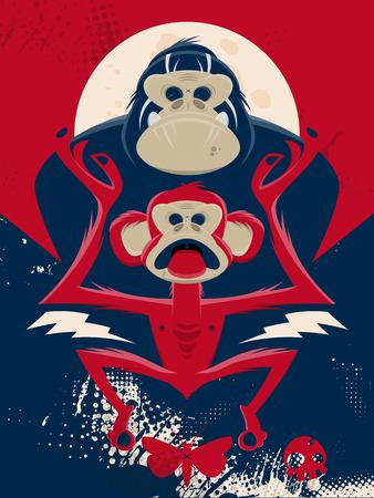 apes: chimp and gorilla illustration Illustration