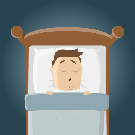 cartoon bed: cartoon man is sleeping in his bed