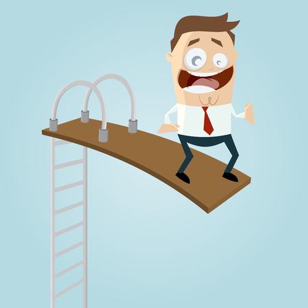 springplank: grappig zakenman op springplank
