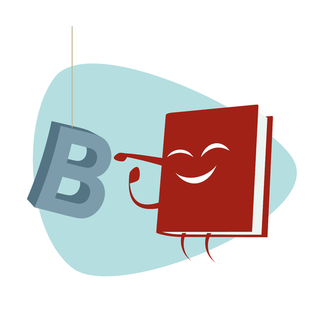 dyslexia: funny cartoon book is punching a letter