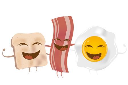 fritto: pane tostato uova e pancetta fritta Vettoriali