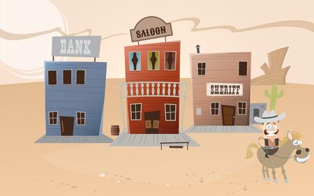 funny cartoon western town Vector