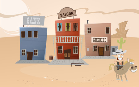 western town: funny cartoon western town Illustration