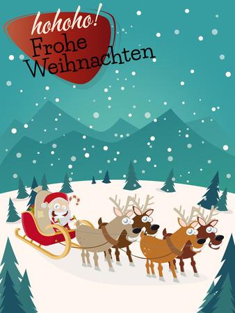 weihnachten: German Christmas greetings Frohe Weihnachten vertical background