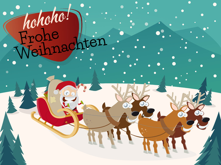 weihnachten: German Christmas greetings Frohe Weihnachten horizontal background Illustration
