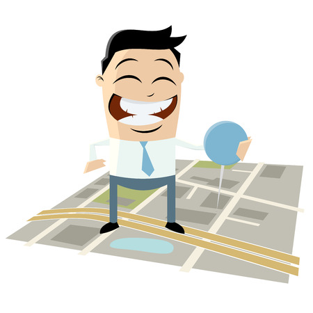 businessman with pin on directions map Vector