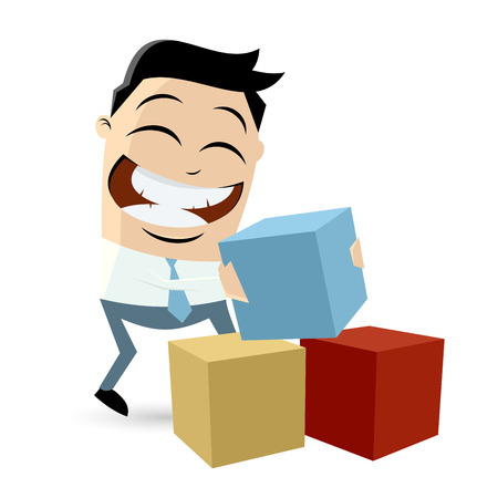 funny cartoon man with colorful blocks