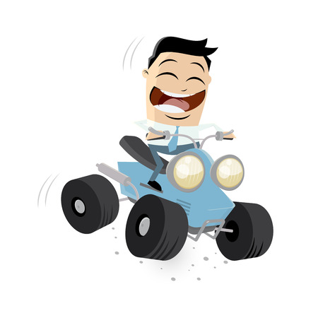 funny businessman is riding a quad bike Vector