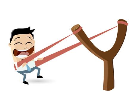 rubber band: funny businessman in slingshot